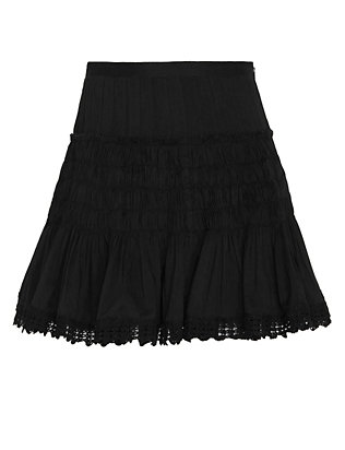 LOVESHACKFANCY Camilla Crochet Trim Mini Skirt: Black
