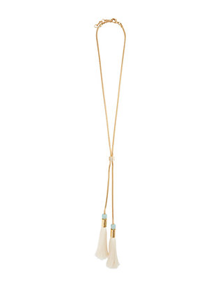 Lele Sadoughi Tassel Straw Necklace