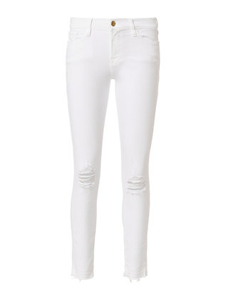 FRAME Released Hem White Skinny Jeans