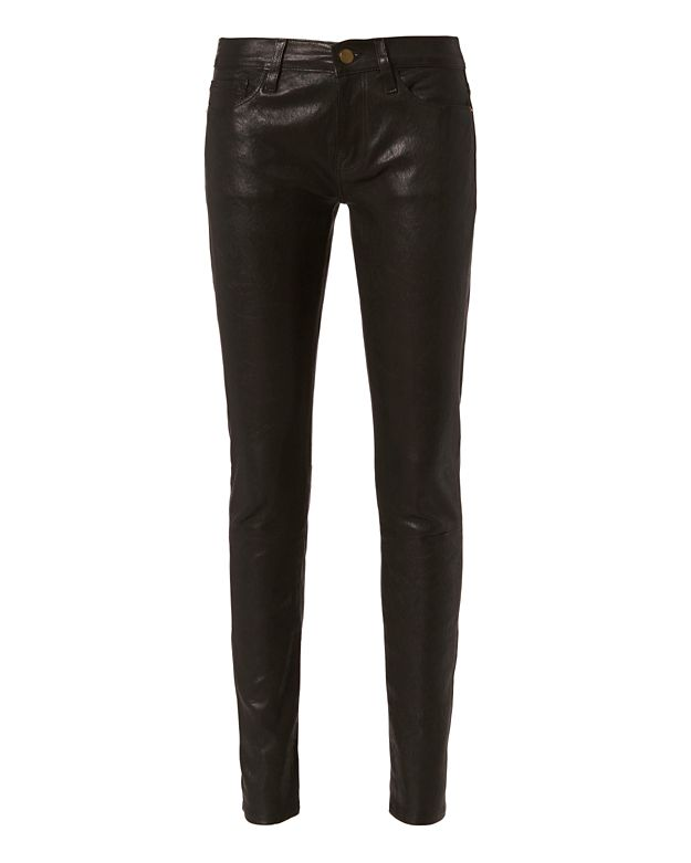 FRAME Le Leather Black Skinny Pants