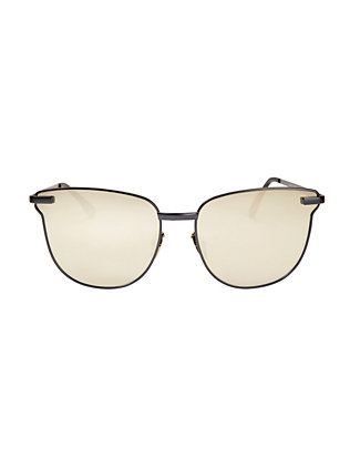 Le Specs Luxe Pharaoh Metal Frame Sunglasses: Black/Gold