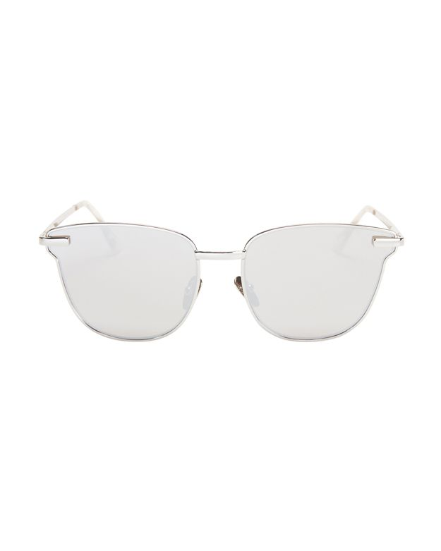 Le Specs Luxe Pharaoh Metal Frame Sunglasses: Silver
