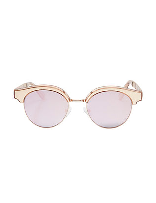 Le Specs Luxe Cleopatra Gold Tone Metal Half Frame Sunglasses