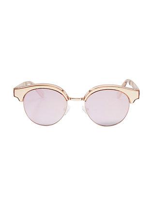 Cleopatra Gold Tone Metal Half Frame Sunglasses