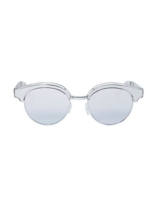 Cleopatra Silver-Tone Metal Half Frame Sunglasses