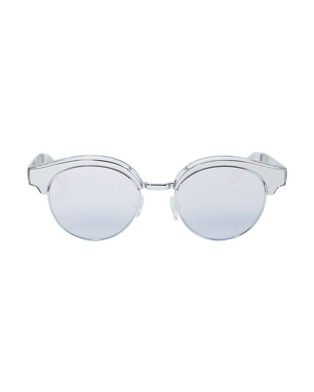 Le Specs Luxe Cleopatra Silver-Tone Metal Half Frame Sunglasses