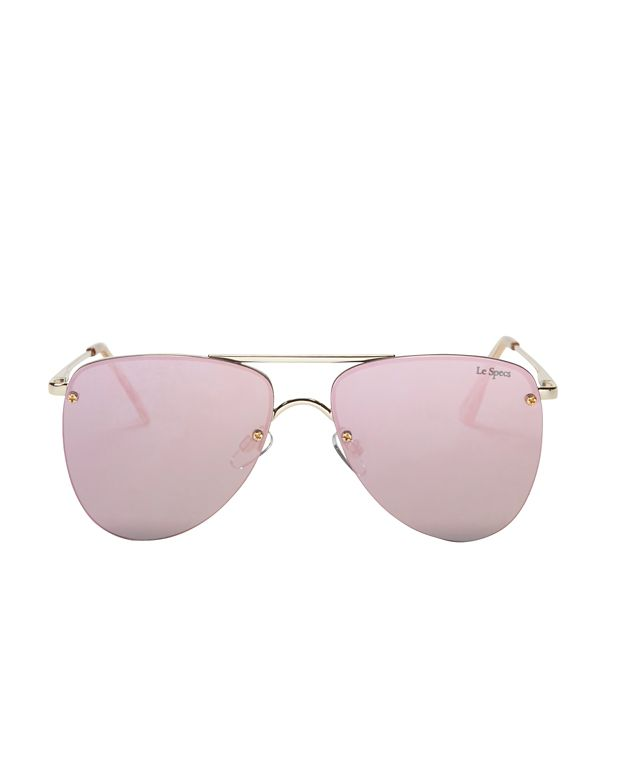 Le Specs The Prince Pink Rose Mirrored Lense Aviator Sunglasses