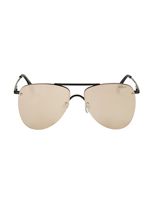 Le Specs The Prince Mirrored Lenses Flat Aviator Sunglasses: Black