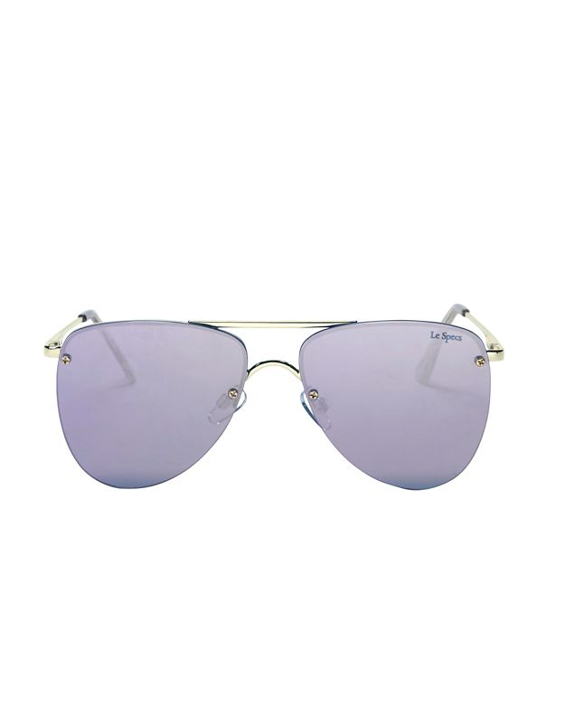 Le Specs The Prince Mirrored Lenses Flat Aviator Sunglasses