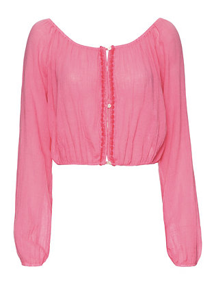 LOVESHACKFANCY Gauzy Button-Down Popover: Pink