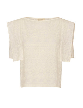 LOVESHACKFANCY Embroidered Cotton Top: Cream