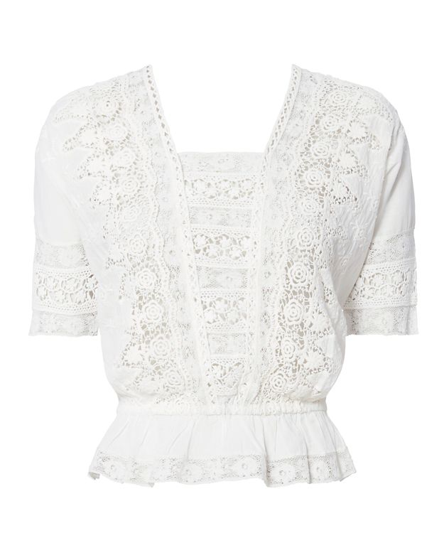 LOVESHACKFANCY Jane Lace Crop Top