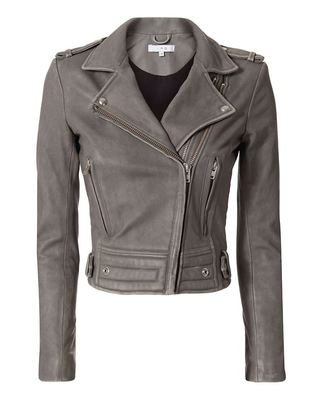 IRO Luiga Grey Moto Leather Jacket