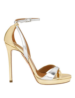 Aquazzura Luna Bi-Metallic Leather Sandal