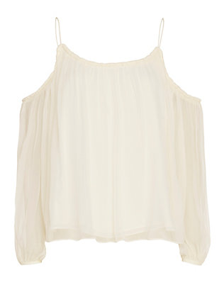 Elizabeth and James Maylin Pleated Chiffon Cut Out Shoulder Blouse