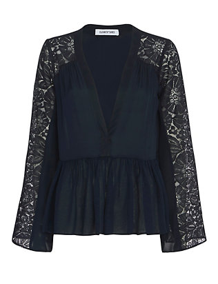 Elizabeth and James Lija V Neck Lace Blouse: Navy