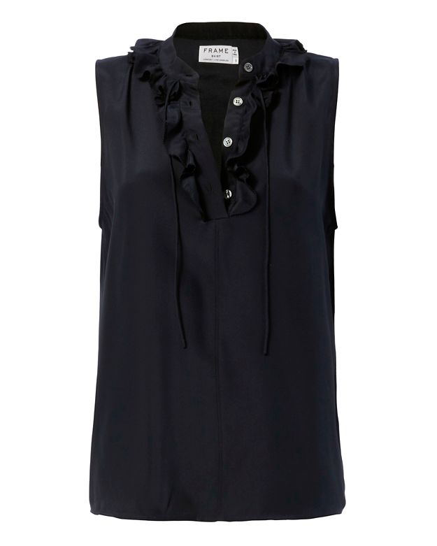 FRAME EXCLUSIVE Le Small Ruffle Top: Navy