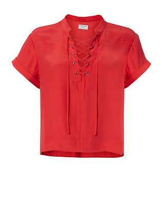 FRAME Lace-Up Neckline Red Blouse