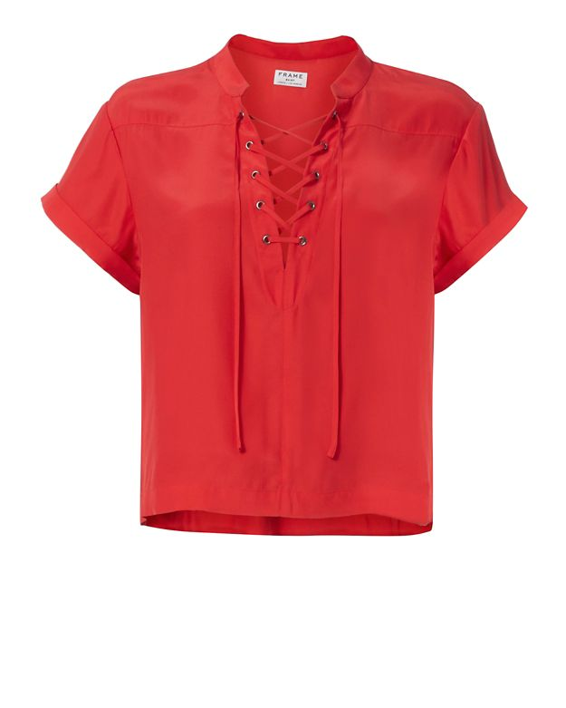 FRAME EXCLUSIVE Lace-Up Neckline Blouse: Red