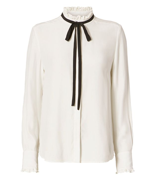 FRAME Contrast Tie Ruffle Blouse
