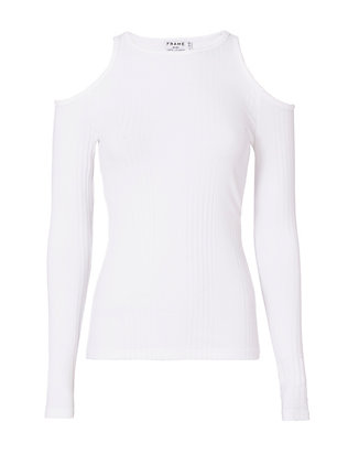 FRAME Variegated Rib Knit Cold Shoulder Top