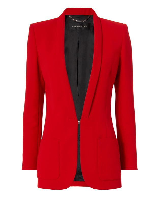Barbara Bui Slim Lapel Classic Blazer: Red