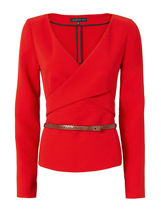 Belted Crepe Top: Red