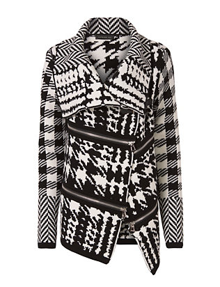 Houndstooth Pattern Sweater Jacket