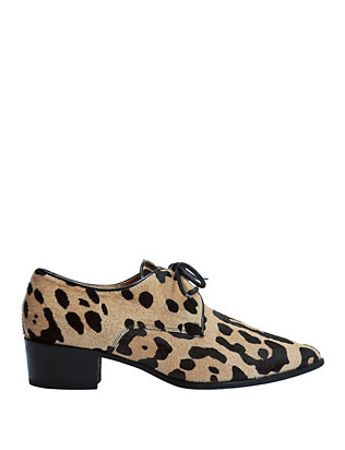 Haircalf Leopard Lace-Up Loafers