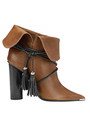 Tassel Tie Foldover Leather Booties