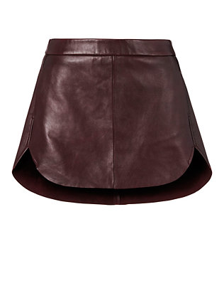 Michelle Mason EXCLUSIVE Rounded Hem Leather Mini Skirt