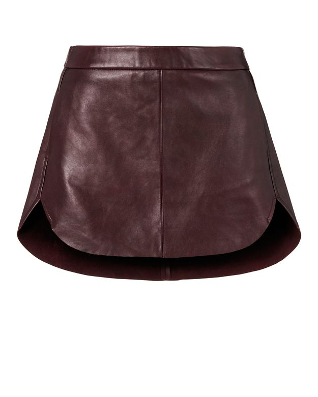 Michelle Mason Rounded Hem Leather Mini Skirt