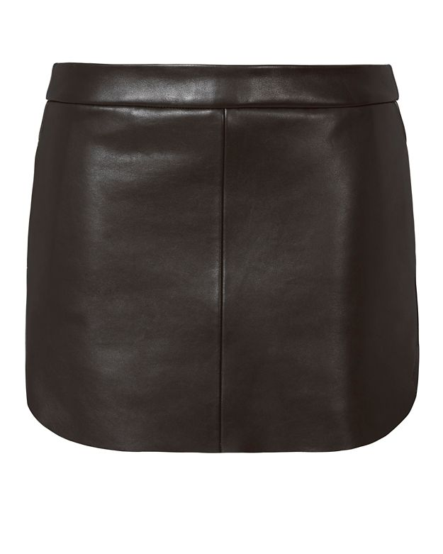 Michelle Mason Rounded Hem Black Leather Mini Skirt