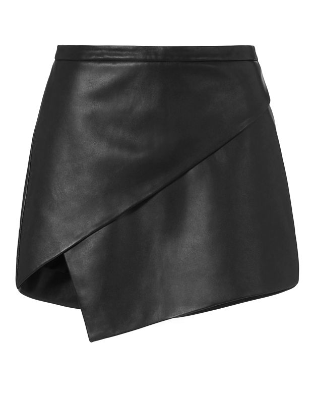 Michelle Mason EXCLUSIVE Asymmetric Leather Mini Skirt: Black
