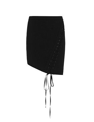 mason by michelle mason Lace-Up Mini Skirt: Black