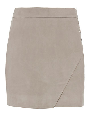 Michelle Mason Suede Wrap Front Mini Skirt