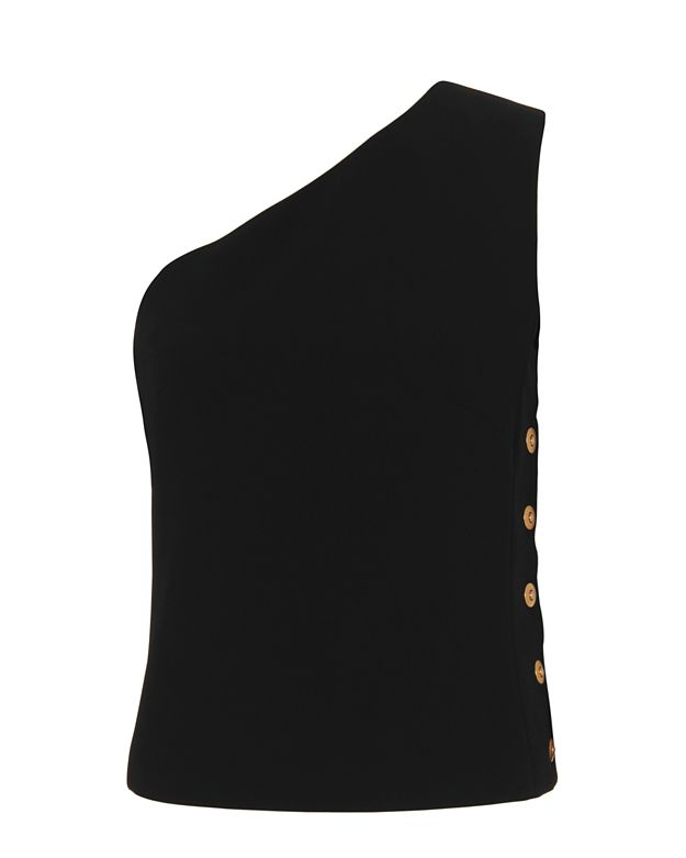 Barbara Bui Gold Button Detail One Shoulder Top