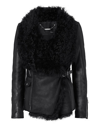 Barbara Bui Shearling Lamb/Leather Moto Jacket