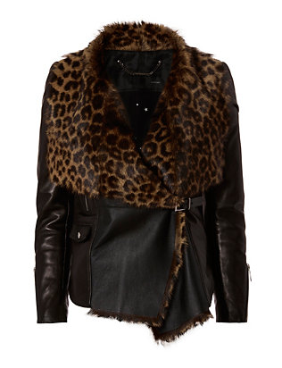 Barbara Bui Leopard Pattern Shearling Lamb Leather Jacket