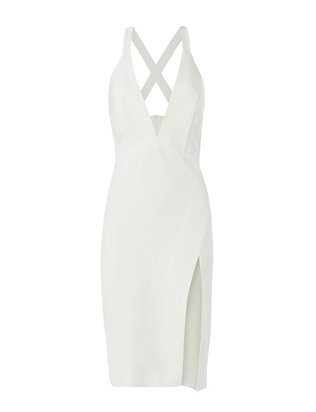 Michelle Mason EXCLUSIVE Deep V Dress: White