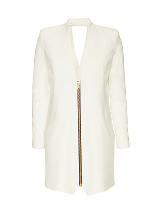 Michelle Mason Jacket Dress: White