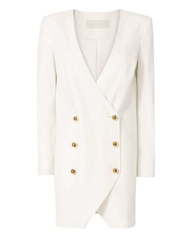 Michelle Mason Blazer Dress: White