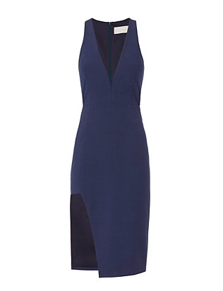 Michelle Mason Plunge V Neck Dress