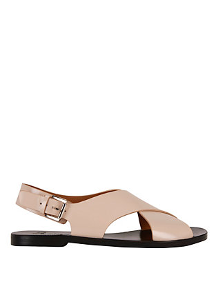 Flamingos Mango Cross Strap Leather Flat Sandal