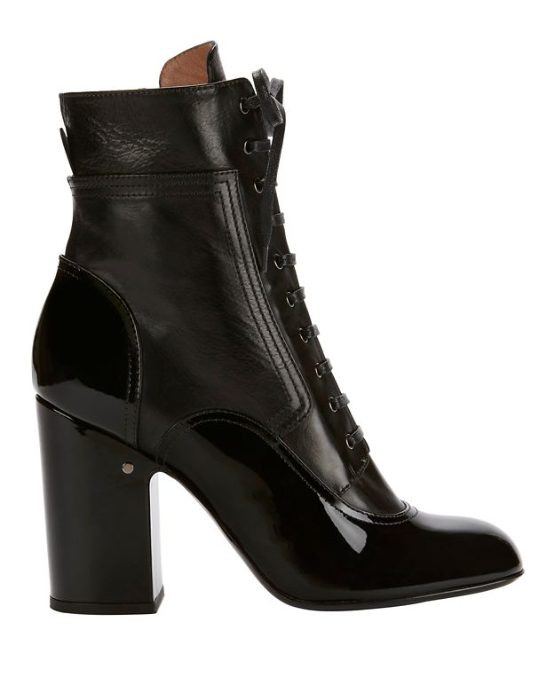 Laurence Dacade Manon Patent Leather Lace-Up Boot: Black