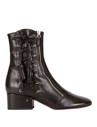 Marcella Lace-Up Black Leather Booties