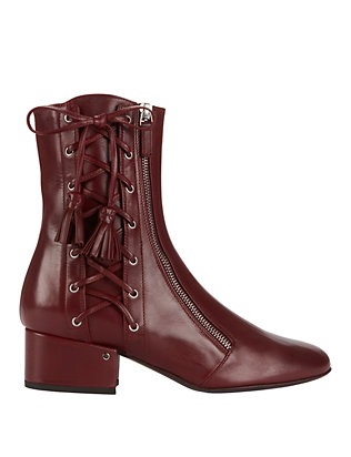 Marcella Lace-Up Leather Booties