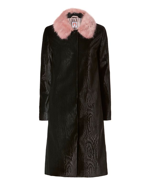 Shrimps Marie Faux Fur Collar Velvet Coat