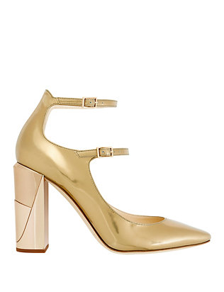 Marlowe Double Strap Metallic Leather Pumps