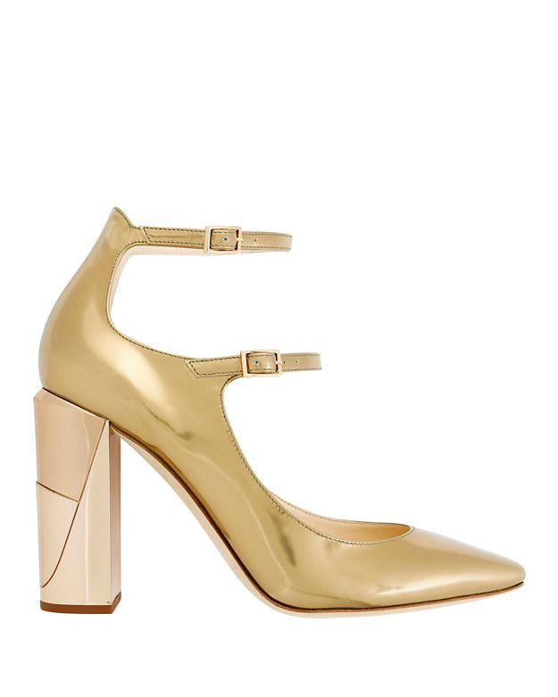 Jimmy Choo Marlowe Double Strap Metallic Leather Pumps